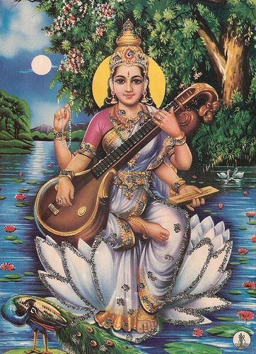 Goddess Saraswati is the Goddess of arts, music, knowledge, and wisdom