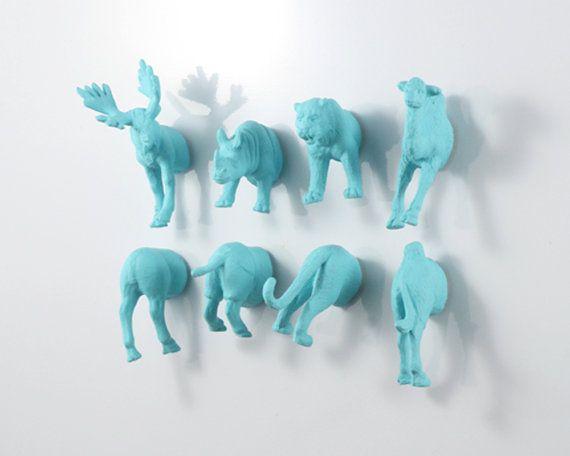 Huge Magnet Animal Set: Moose - Camel - Tiger - Rhino - 8 piece set