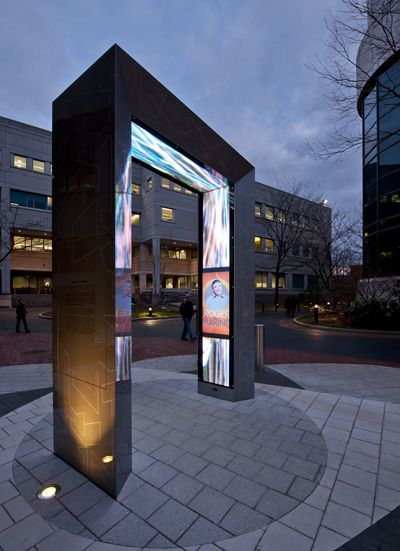 northeastern - night view - Designed and built to withstand the unforgiving Northeastern weather, the portal is housed in an aircraft-grade aluminum exoskeleton and is controlled by an intelligent internal cooling system whose remote fans can exchange the volume of air within the portal once every three seconds, saving the electronics from meltdown in summer heat