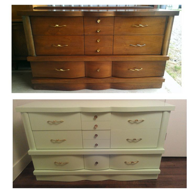 Mid Century Dresser Used As A Changing Table. Up Cycle, Refinished In Ceamy  Delight