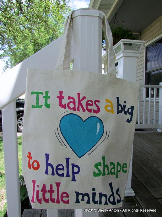 "Teacher Tote Bag Personalized Custom Name by PromotingSuccess--This teacher tote bag is hand painted with a wonderful teaching quote, ""It takes a big 'heart' to help shape little minds."" The back of the bag is blank ready for a teacher's name! You choose the color. The canvas bag measures 13.5"" W x 13.5"" H x 4""D. It would make a great gift for your favorite teacher - or yourself!"