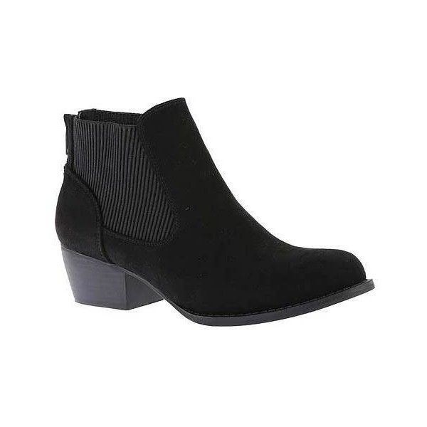 Women's Portland Boot Company Chasing Chelsea Ankle Boot ($32) ❤ liked on Polyvore featuring shoes, boots, ankle booties, ankle boots, black, casual, black chelsea boots, black ankle booties, faux suede booties and black boots