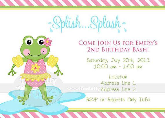 NEW  Splash Pad Frog Digital Invitation YOU by ToadallyCuteParties, $15.00