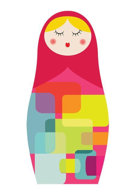 Matryoshka Russian Doll Multicolour 2-  giclee print - fine art paper  - 50x70cms. $110,00, via Etsy.