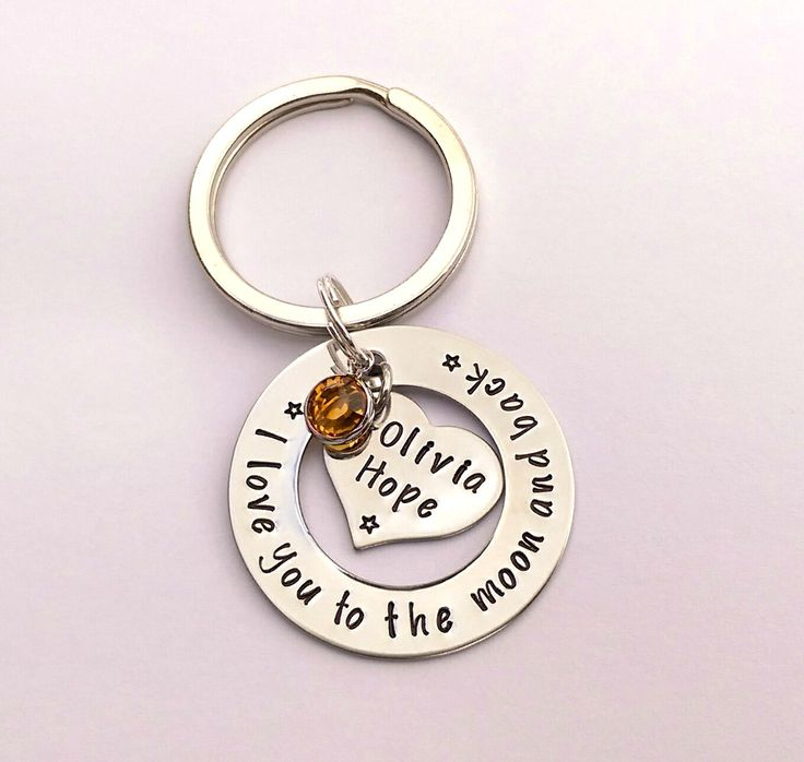 Personalised I love you to the moon and back keyring - personalised mothers day gift - mothers day present - present for mum - gift for mom by EmsStampedJewellery on Etsy