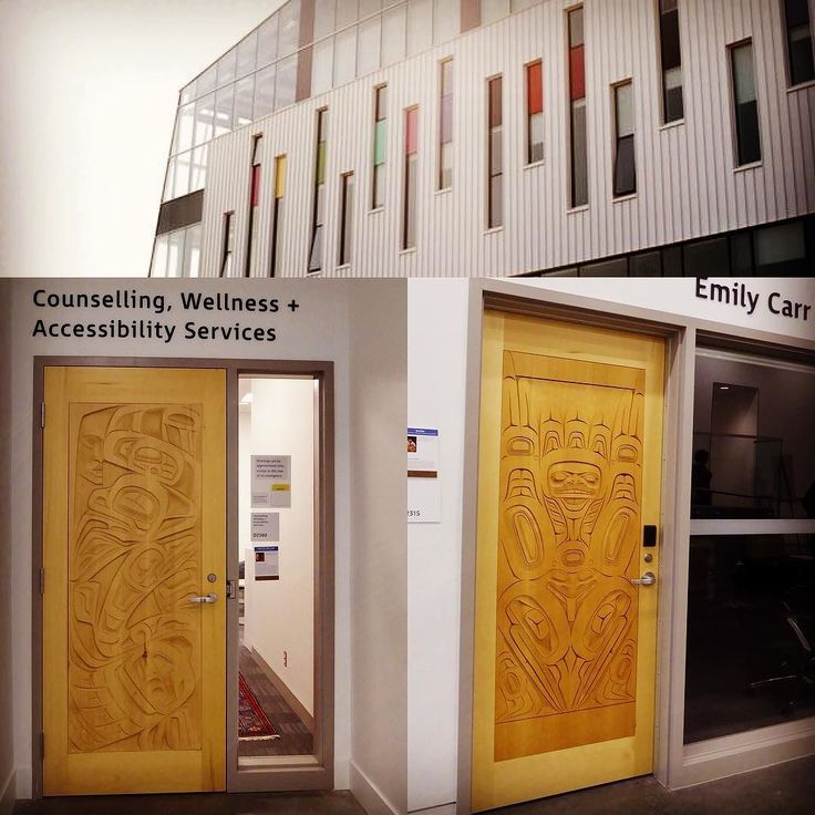 Emily Carr(1871  1945) was a Canadian artist and writer inspired by theIndigenous peoples of the Pacific Northwest Coast. The Vancouver School of Decorative and Applied Arts (est. 1925) was named after Emily Carrin 1978 and moved to Granville Island shortly after. September 2017 it opened at its new east Vancouver campus with a spectacular mountain view and various Indigenous design elements including these two interior doors. The colours used on the exterior of the building are drawn from…