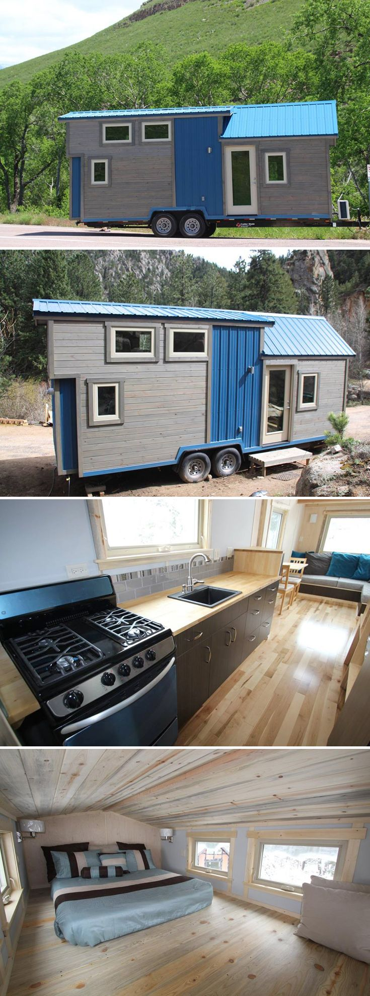 The 25.5' tiny house offers 260-square-feet of living space between the main floor and sleeping loft, and it features a beetle kill pine ceiling.