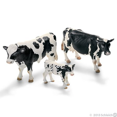 Schleich Plastic Animal Figurines Holstein Bull Cow And