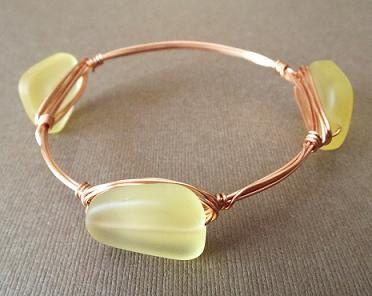 Wire Bangle Bracelet Copper Bangle Sea Glass by PepperandPomme