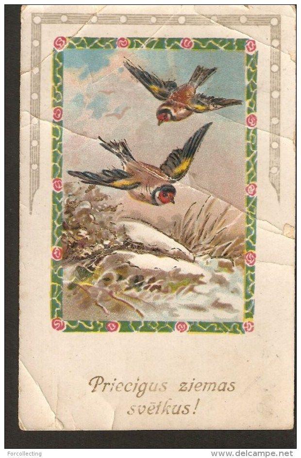 b20. Old Christmas New Year Greetings embossed postcard -  Winter birds bullfinch - Latvian stamp