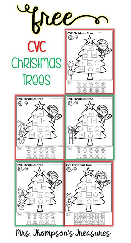 Free Christmas Trees CVC Match   Anytime I can add in elements of a seasonal theme my kids suddenly become more interested! Which was exactly this case when I made these Christmas Tree Cut & Paste pages for my kindergartner to practice her CVC words! She was so excited becauseshe was putting ornaments ona Christmas tree!  You can download the whole set of 5 pages for FREE from my blog!  christmas Christmas tree activities Cut and Paste CVC Mrs. Thompson's Treasures PK-2