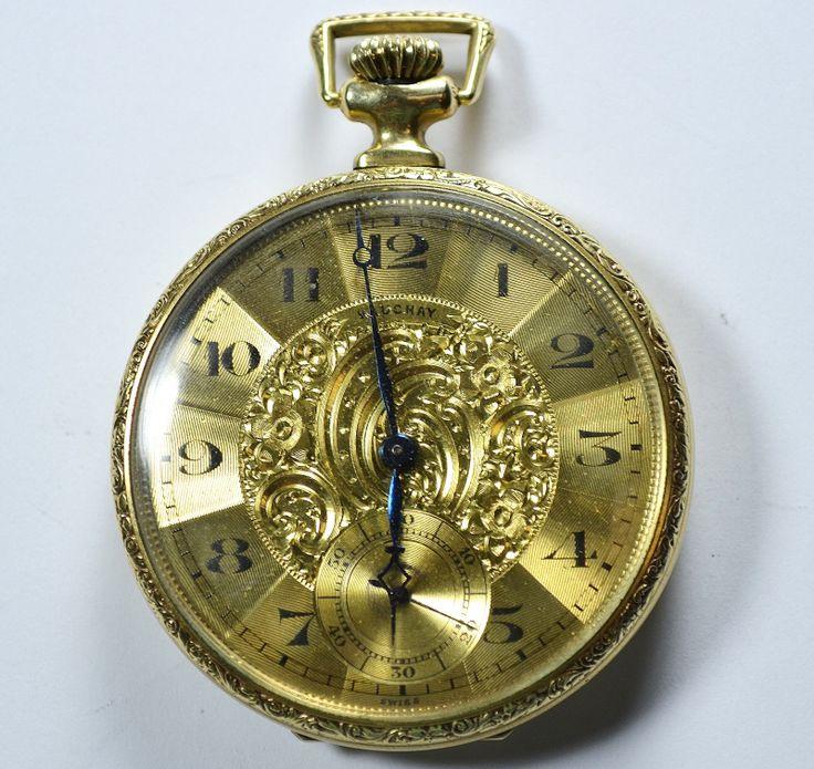 Vauchay swiss recta pocket watch 14k gold filled 17 jewels ...