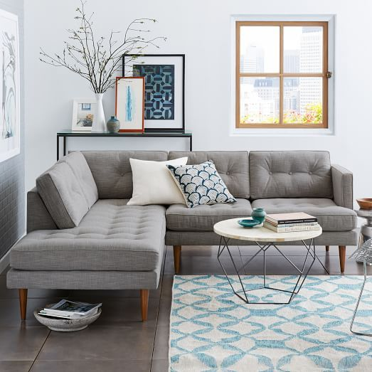 Peggy Mid-Century Terminal Chaise Sectional - Feather Gray (Heathered Crosshatch) | west elm