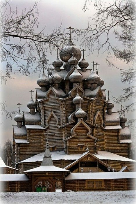Old wooden church in Kizhi, Russia