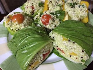 Vida veg e saúde!: Burrito e pimentões recheados com arroz de couve flor…