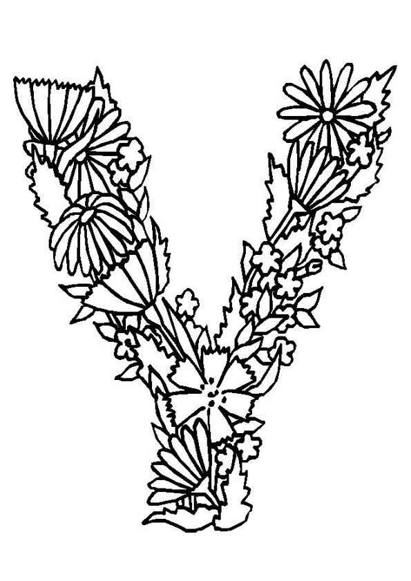 Ribbon Flower In Y Letter Learning Alphabet Coloring Pages