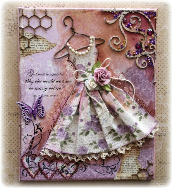 Such a Pretty Mess: VIDEO TUTORIAL: Vintage Dress Canvas Using Maja Design Papers & Dusty Attic Chipboard!
