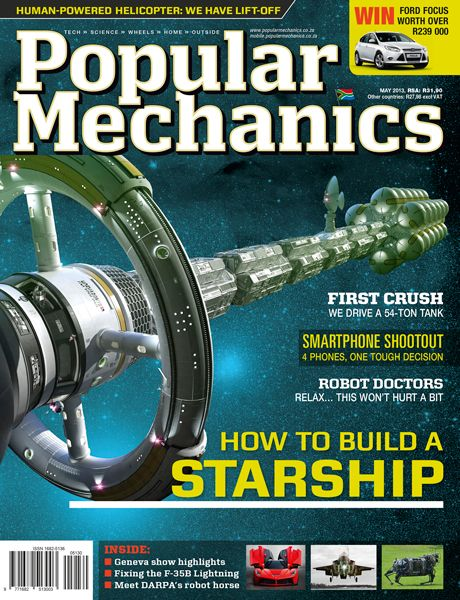 Popular Mechanics (TME*POPMECH) Magazine cover, May 2013 issue featuring an article on How To Build A Starship!   To contact TME Magazine Customer Service by phone about your PopMechanics magazine subscription: 1- (877) 632-3189