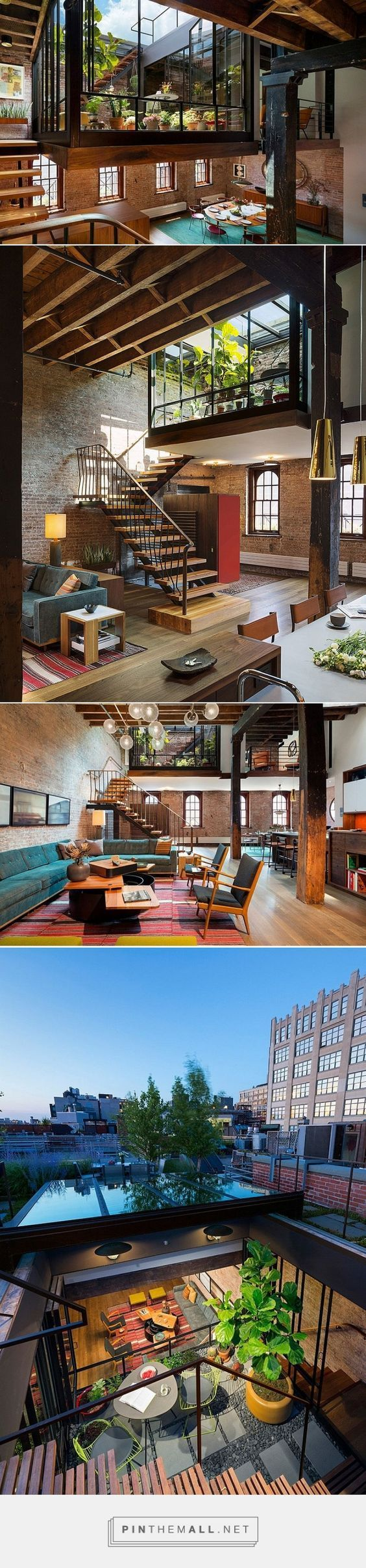 Old Caviar Warehouse Converted into a Sensational NYC Loft - garden space dropped down into the living space - created via http://pinthemall.net::