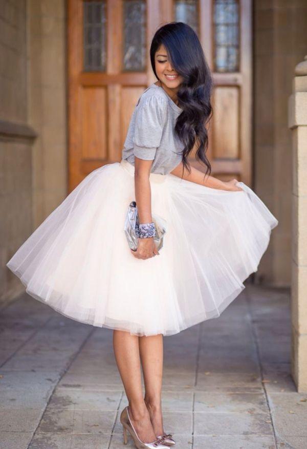 Witte tule rok voor dames