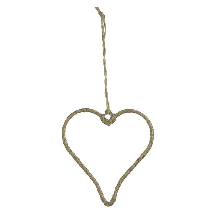 Julgransprydnad - julpynt hjärta. Låt din julgran glittra med julgranspynt i guld! Lantligt hänge  i jute för din julgran. Elegant hänge för julgranen.