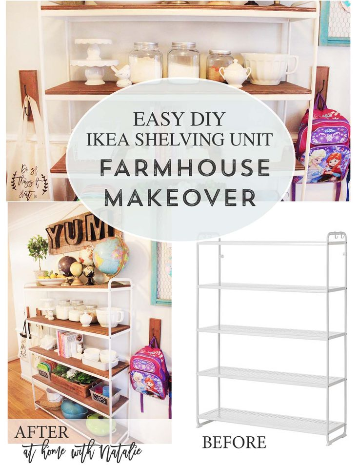 I used an IKEA shelf I already had to do a little farmhouse makeover DIY project! It's easier than you think!