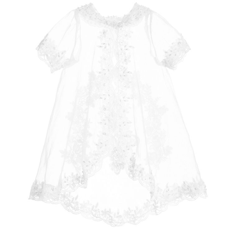 Romano Princess baby girls white dress, ideal for special occasions. With a layer of pretty embroidered organza with flowers and sequin appliqué, a layer of soft polyester and a tulle frilled silky lining. It has a beautiful organza jacket embroidered with flowers, tiny pearl beads and sequins, which is worn over the dress and is perfect for special occasions  Model: Weight 6 kg (average 4 month) Size of dress worn in the photo 0-3 month