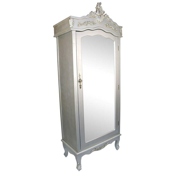 French Silver Single Door Armoire With Mirrored Door Http://www.la
