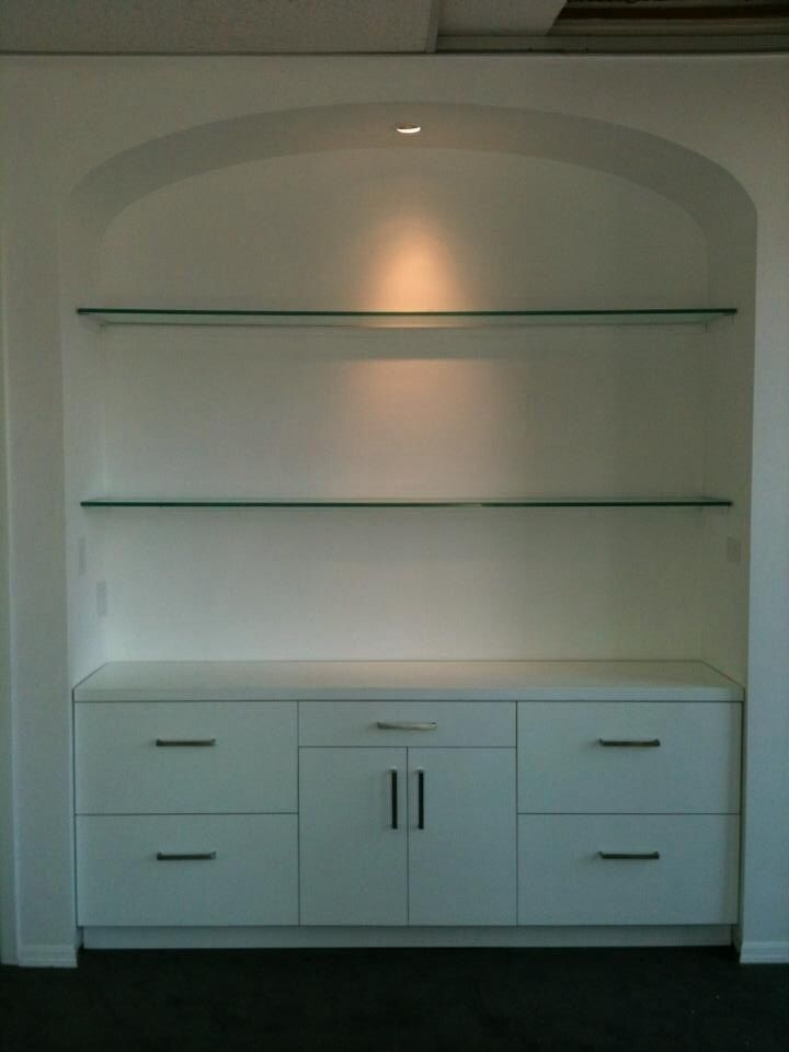 Built in buffet with glass shelves. A mirror back and two additional lights woul…   – Dining room