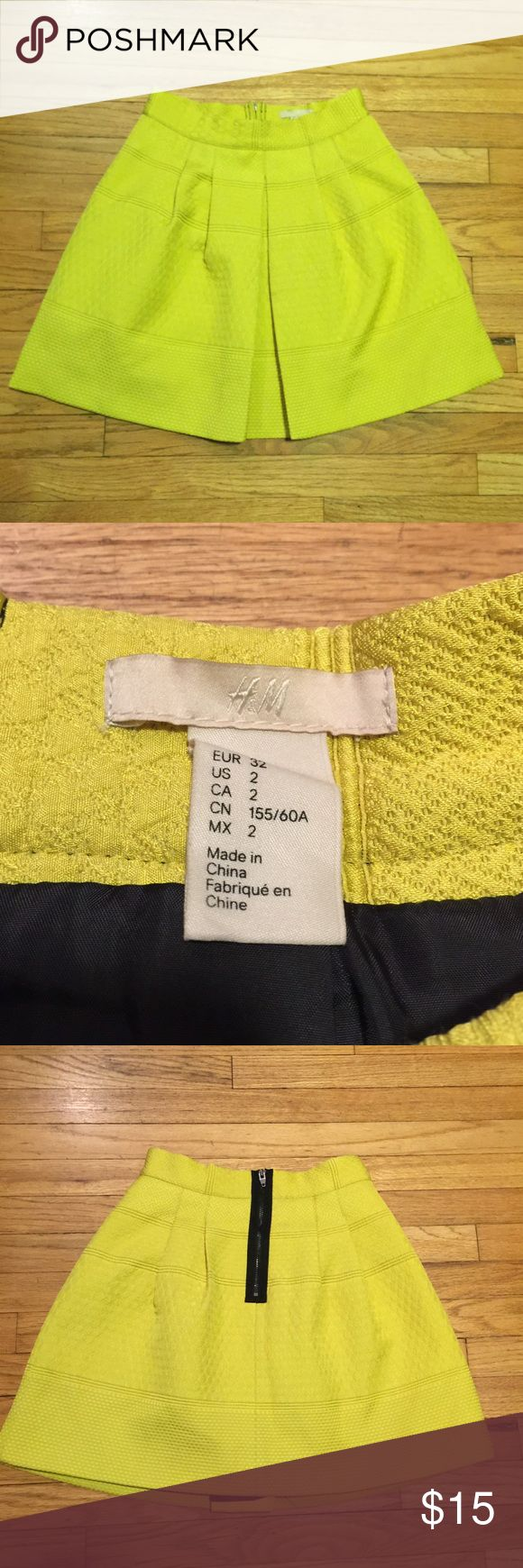 H&M neon yellow mini skirt - sz 2 H&M neon yellow mini skirt - sz 2. Waist - 12.5 inches. Length - 16.5 inches. Excellent condition H&M Skirts Mini