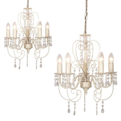 2 x Distressed White Shabby Chic 5 Way Ceiling Light Chandeliers -  SHABBYCHIC-LONDON.