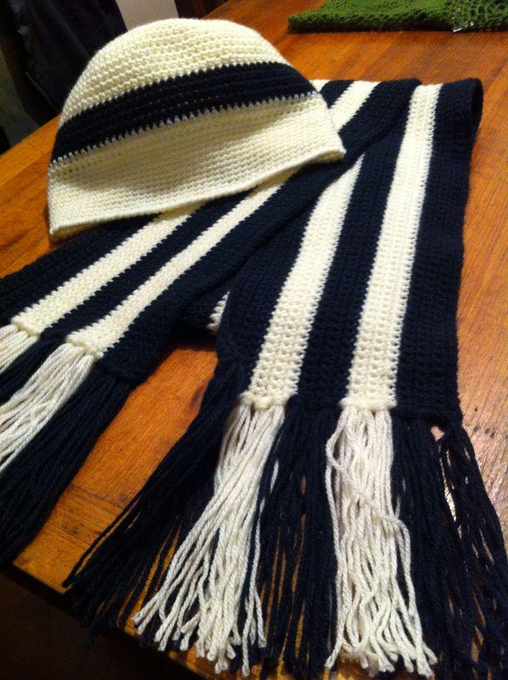 Crochet / Bufanda y gorro bicolor para mi amor / Bicolored scarf and hat for my boyfriend