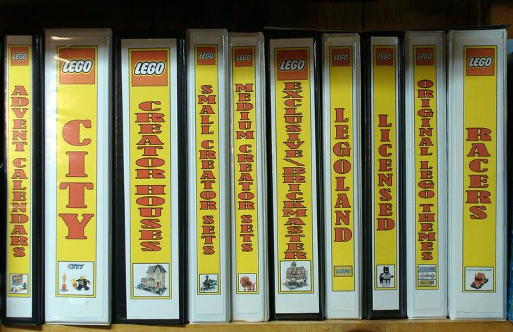 These LEGO Instruction Booklet Binders are filled with...LEGO Instruction Booklets! They are divided by theme (which is on the spines of these binders). Each instruction booklet is in a page protector. I designed the spines and covers as well. I could never tell which binder was for what so now I know.