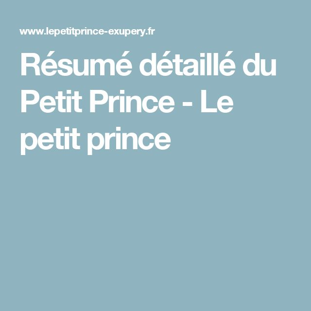 id  es    propos de R  sum   Du Petit Prince sur Pinterest   Le