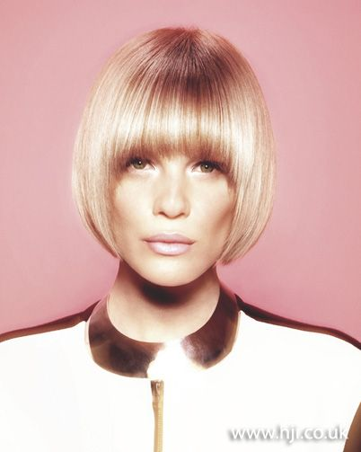 Pageboy Haircut 2012 Blonde Smooth Bob Fringe Hair Style