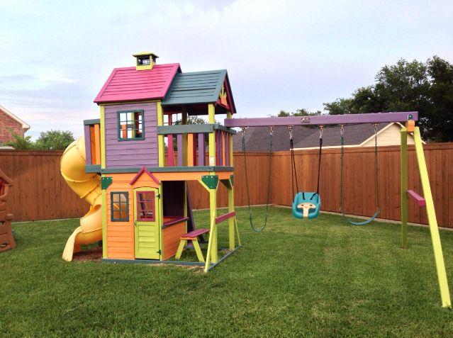 backyard playground outdoor playset kids yard playhouses she is swing