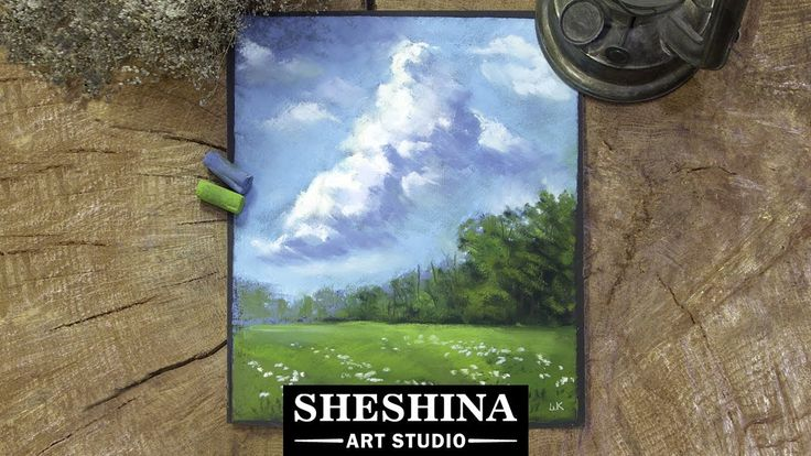 How to draw cloudy sky landscape with soft pastels  🎨 Sheshina Ekaterina