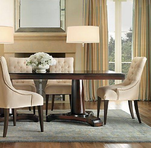 Martine Upholstered Armchair And Portman Dining Table From Restoration  Hardware.