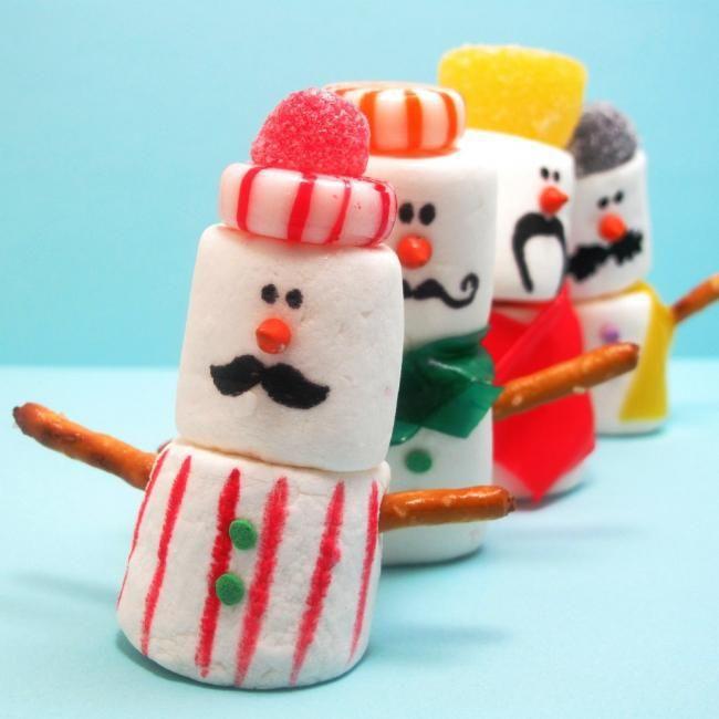 Mustachioed Marshmallow Snowmen Kids Party Craft food ideas