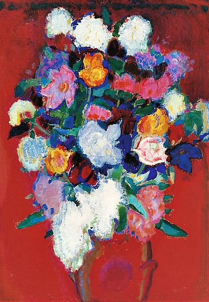 Jan Sluijters Flowers in a Red Vase 1911-12. Houses in the Jourdann. Jan Sluijters was a Dutch painter. Sluijters was a leading pioneer of various post-impressionist and expressionist movements in the Netherlands.