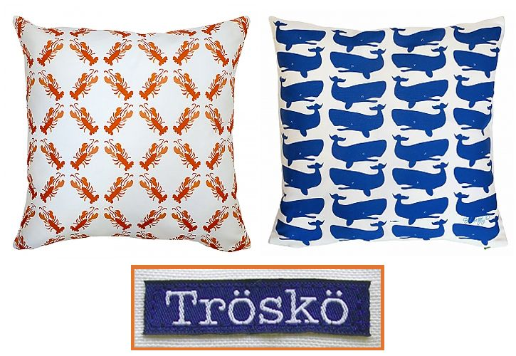 Loving  Tröskö Pillows - great patterns with a fresh blend of Scandinavian design and Maine imagery