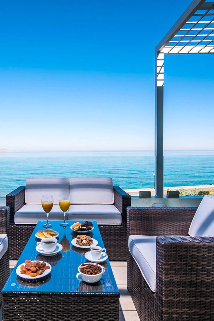 Enjoy the amazing view at Gouves Sea View Villa in Gouves, Heraklion. To find more villas near the beach, visit our site TheHotel.gr #crete #sea #shades #view #relaxing #vacation