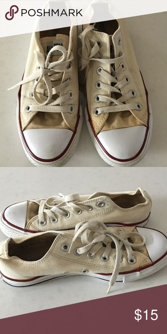 Off white converse These have been worn but still have life left! Have a few marks here and there but not horrible condition. They are like a cream/ off white color. Any questions just ask! Converse Shoes
