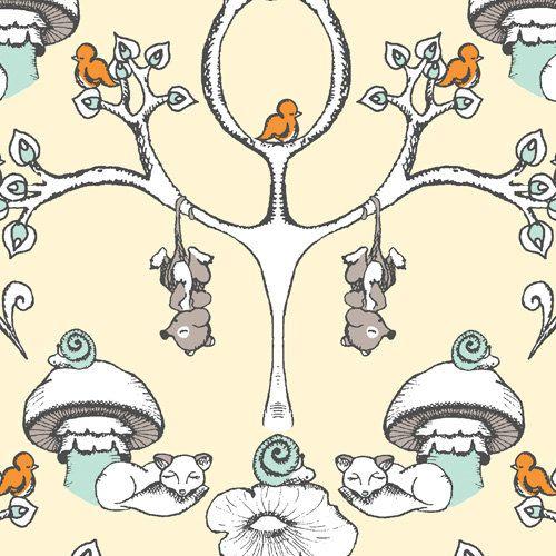 Birch SCAMPER  Forest Wallpaper Organic von CedarHouseFabrics, $15.00