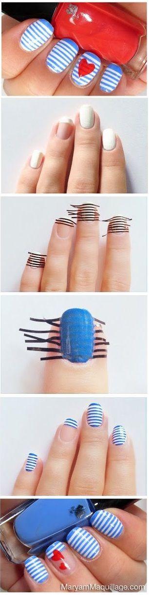 Stripes Nail Design Tutorial