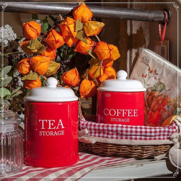 Red Classic Coffee Jars perfect for an autumn night! Embrace the colours within you!