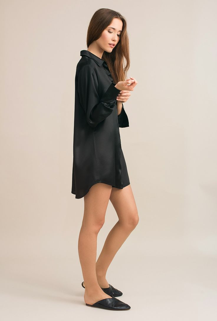 Classic silk satin shirt - Rita black sandwashed - MOYE homewear