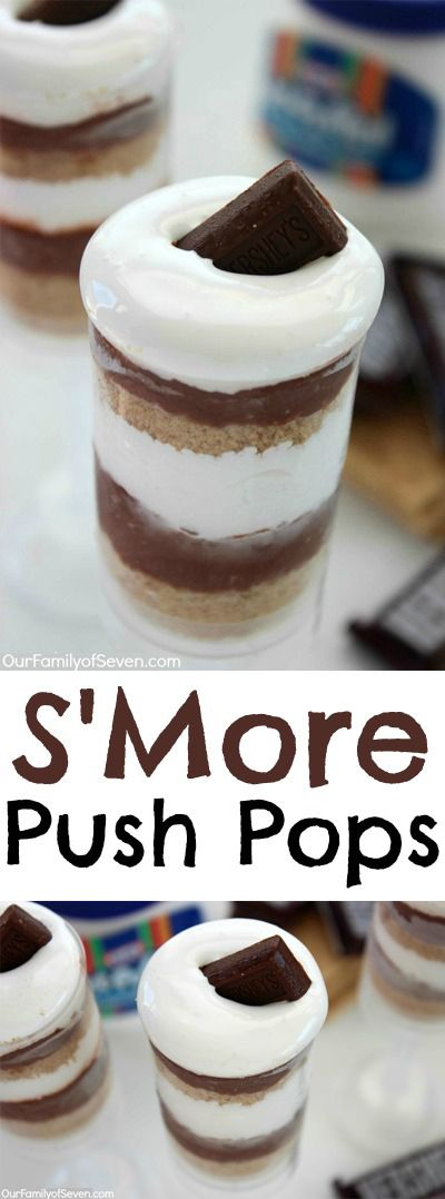 S'More Push Pops-- Super simple fun s'more treat for summer. Great for your bbq's.