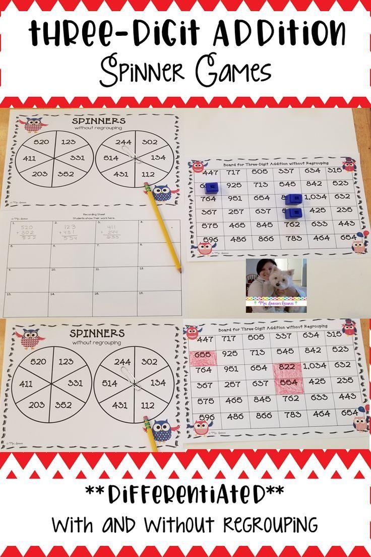 Three Digit Addition Spinner Games Math Resources Math Curriculum Elementary Math How to teach three digit addition with