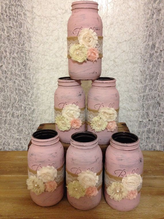 Shabby Chic Half Gallon Mason Jars by AmourVintageWedding on Etsy